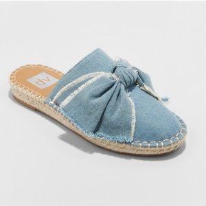 Dolce Vita Jean Espadrille Mules Flats Bow Blue 11